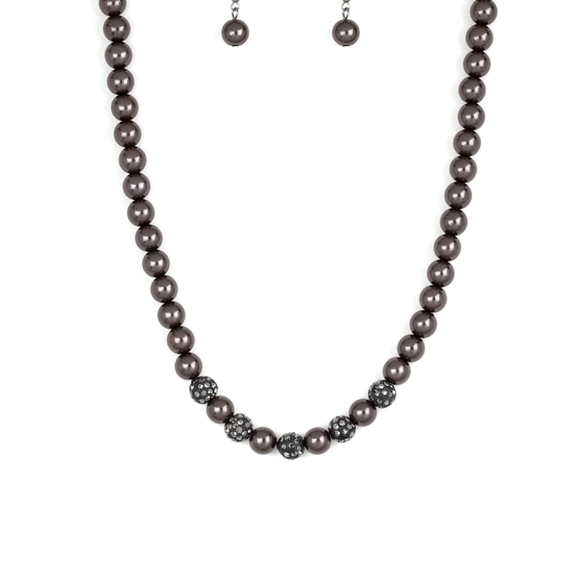 Necklace black with matching earrings w/bling